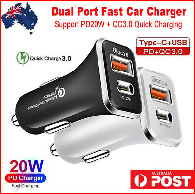 AU12.95 • Buy Type C Car Charger Adapter USB QC3.0 PD Type-C Quick Charging Cigarette Lighter