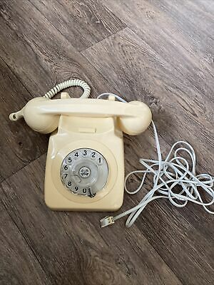 £34.99 • Buy VINTAGE 1970's RETRO GPO 746F ROTARY DIAL CREAM TELEPHONE - CONVERTED & WORKING