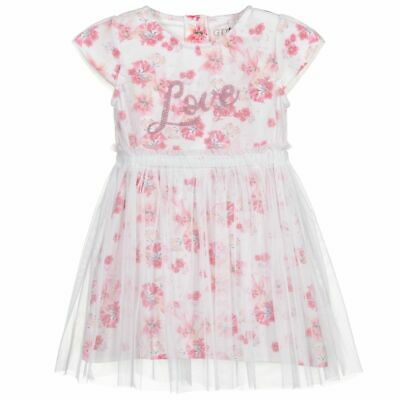 £15.99 • Buy Guess Baby Girl White Pink Cotton Floral Print Short Sleeves Tully Overlay Dress