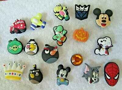 £7.04 • Buy 17 Piece CROC Shoe Buttons Charms With Backs Rivets Superman Tom Mickey Snoopy