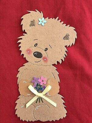 £1.75 • Buy 4x Made Scruffy Bear Die Cut Card Toppers Easter, Mothers Day
