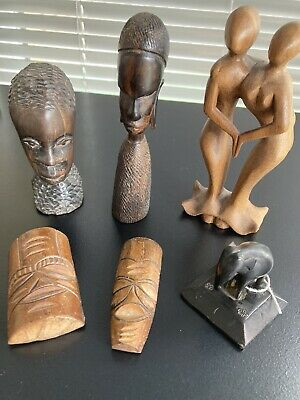 £5 • Buy Job Lot  Carved Wood African Ethnic Figures Wooden Satues Africa Tribal Head