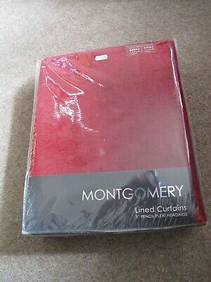 £45 • Buy BN 1 Pair  Montgomery Red Lined Curtain Vogue Size 66 X 72 Inch