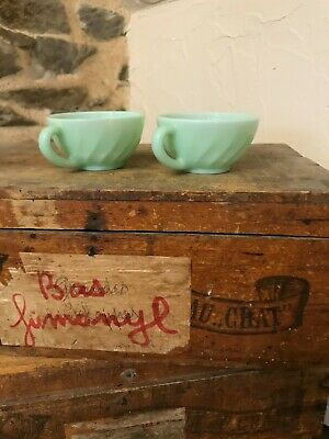 £14.99 • Buy Vintage French Arcopal Mint Green Coffee  Tea Cups X 2