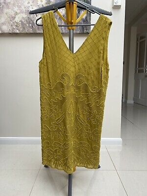 £30 • Buy Topshop Brand New With Tags Chartreuse Embellished Sleeveless Dress Size 12