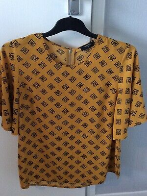 £0.99 • Buy SIZE 14  Yellow Mustard & Black  Top Lovely Flow To The Sleeves
