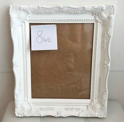 £12.95 • Buy 10 X 8 WHITE Ornate Swept Antique Rococo Baroque Picture Frame Back Perspex 8wC