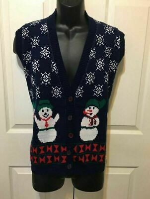 $29.99 • Buy Men's Ugly Christmas Sweater Vest Snowman Snowflake Navy Small (Women Large)