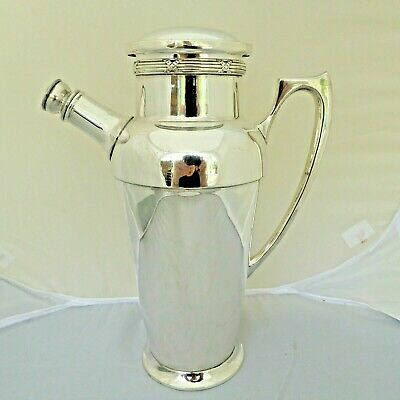 £229.99 • Buy Rare Large Art Deco Silver Plate Cocktail Shaker Built In Recipe Finder Gleaming