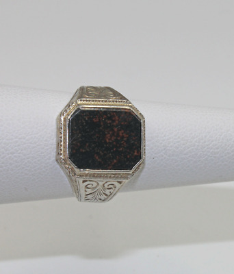 £212.31 • Buy Antique 14K White Gold Bloodstone Ring Size 7 Engraved Designs To Mount