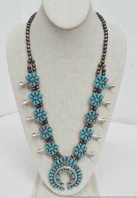 $ CDN540.47 • Buy Zuni Native American Artisan Signed DG Silver Turquoise Squash Blossom Necklace