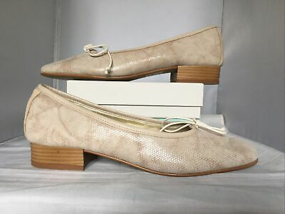 £9.99 • Buy Riva Leather Flat Shoes Reptile Print Beige Cream Ballerina Pumps Size Uk 7 Bow