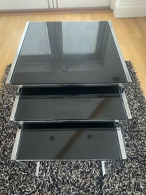 £35 • Buy Black Glass And Silver Nest Of Tables From Pondsfords