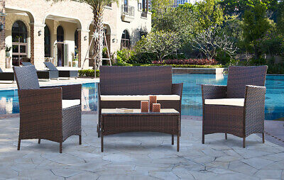 £179.99 • Buy Rattan Garden Furniture Dining Set Patio Outdoor 4 Piece Table Chairs Sofa