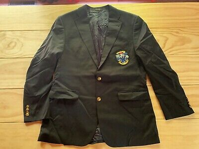 $67 • Buy Mens BARBOUR Blazer Coat Jacket Wool Navy With Embroidered Crest