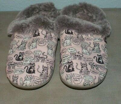 £14.16 • Buy Womens Slippers Sz 7 Bobs Sketchers Cats Fur Lined Memory Foam House Shoes Pink