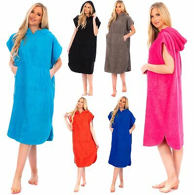 £22.99 • Buy Ladies Changing Robe 100% Cotton Hooded With Pocket Beach Poncho Swimming Surf