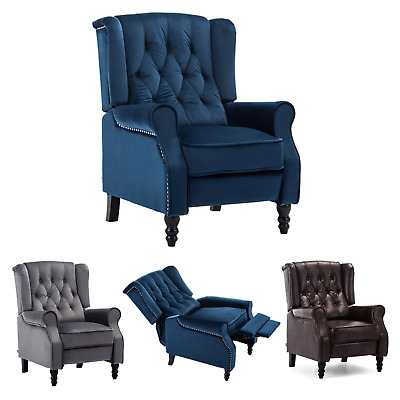 £219.99 • Buy Althorpe Wing Back Velvet / Leather Recliner Armchair Fabric Occasional Chair
