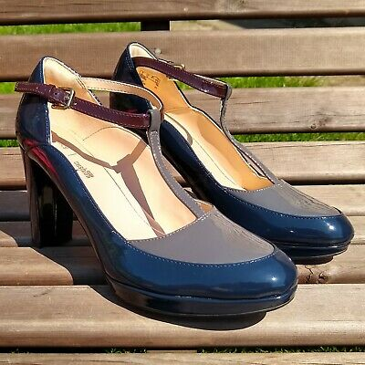 £4.99 • Buy Clarks Kendra Daisy Cushion Plus Navy Combi Patent Leather T Bar Shoes UK 6 D