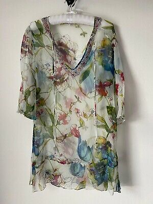 £8 • Buy Lini Sheer Floral Kaftan With Sequins Size M