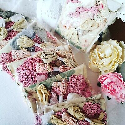 £10 • Buy Hand Dyed Vintage Fabric Crochet Doilies Lace Scrap Slow Stitch Tulle Pink