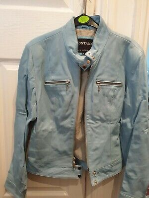 £10 • Buy Real Leather Baby Blue Biker Size 14
