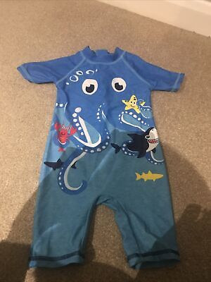 £0.99 • Buy Boys Fish And Shark Swim Suit All In One 12-18 Months