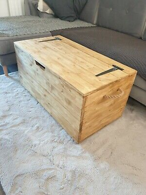 £150 • Buy Hand Made Large Wooden Chest Trunk Storage Coffee Table Oak Colour