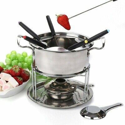 £7.99 • Buy Cheese Chocolate Fondue Set Melting Pot Stainless Steel W/ 6 Forks Fuel Burner