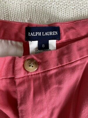 £5 • Buy Ralph Lauren Girls Trousers Age 8, Coral Colour Cotton Sateen Fabric