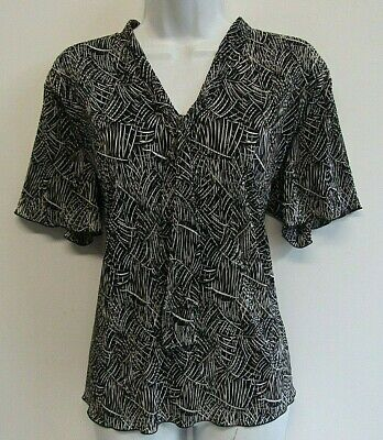 £5.99 • Buy Forever By Michael Gold Womens Jersey Pleat Top Size 18 (xl) Black Patterned