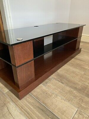 £100 • Buy BLOK AV / TV Unit Solid Wood In Mahogany/black Glass Finish Used But In Exc Cond