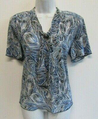 £5.99 • Buy Forever By Michael Gold Womens Jersey Pleat Top Size 16 (l) Blue Patterned