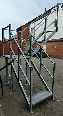 £1600 • Buy Galvanised Steel Staircase Stairs Fire Escape With Commercial Handrail & Landing