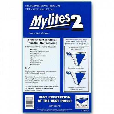 £22.50 • Buy 50 Pack Mylites2 725M2 Standard Size Protective Comic Sleeves Mylar Comic Bags