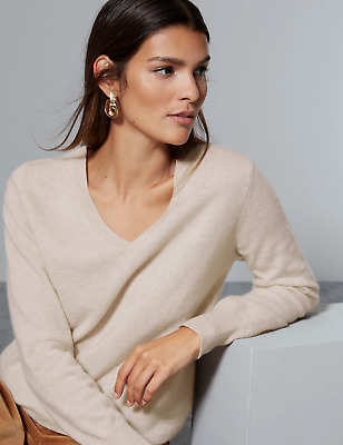 £29.99 • Buy EX M&S Pure Cashmere V Neck Jumper With Ribbed Hem And Cuffs In Oatmeal