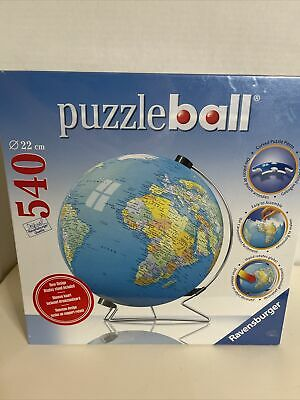 $16.99 • Buy NEW Sealed Ravensburger 3D Puzzle Ball Earth World Globe W/Stand 540 Piece