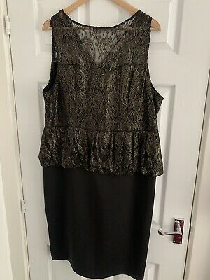 £1.20 • Buy Gold And Black Lace Peplum Dress Size 20 Knee Length