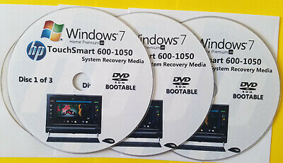 £14.87 • Buy HP TouchSmart 600-1050 Factory Recovery Media 3-Discs / Windows 7 Home 64-bit