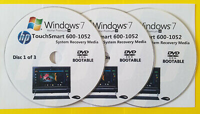 £14.87 • Buy HP TouchSmart 600-1052 Factory Recovery Media 3-Discs / Windows 7 Home 64-bit