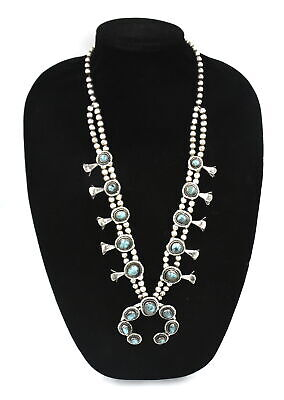$ CDN150 • Buy Southwestern Old Pawn Turquoise Squash Blossom Necklace 925 Sterling Silver ~26