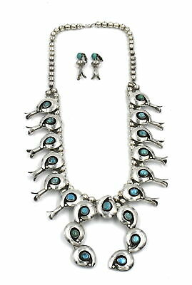 $ CDN76.52 • Buy Southwestern Turquoise Squash Blossom Naja Necklace Earring Suite Sterling ~26