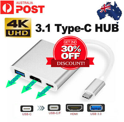 AU15.15 • Buy Type C To USB-C HDMI USB 3.0 Adapter Converter Cable 3 In 1 Hub For MacBook Pro