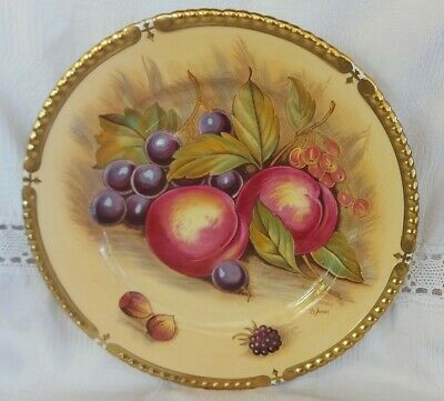 £44 • Buy Aynsley Orchard Gold Cabinet Plate Signed D. Jones (Gold Ribbed Edge) 10 1/4