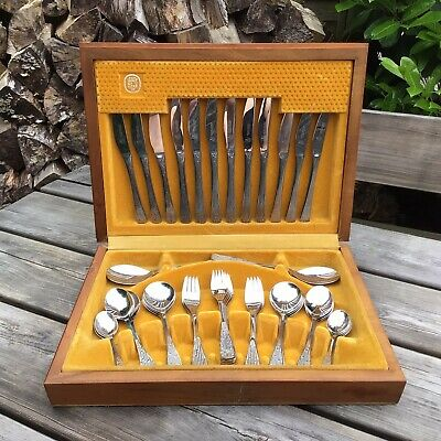 £75 • Buy Old Vintage Retro Spear & Jackson Champagne Crystal Design Canteen Cutlery Set