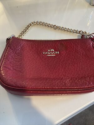£0.99 • Buy Coach Red Leather Purse With Chain Handle