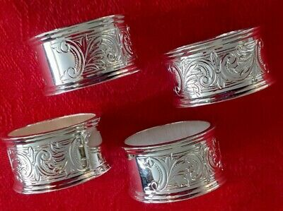 £5 • Buy Set Of 4 Silver Coloured Napkin Rings