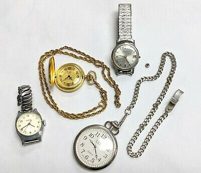 $ CDN1.23 • Buy Lot Of 4 Mechanical Pocket Watches & Wrist Watches Automatic & Manual 154