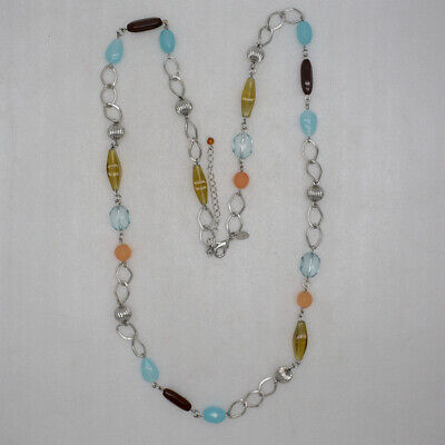 $ CDN9.70 • Buy Lia Sophia Signed Jewelry Candy Beads Long Necklace Chain Bohemia Silver Plated