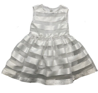 £35.63 • Buy Jean Bourget Girl's White Satin Striped Dress Size 4 4T NWOT Orig.$158